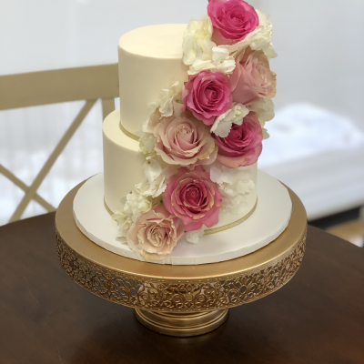 Petite 2 Tier with Fresh Roses