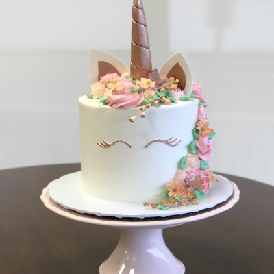 Rose Gold Spring Unicorn Cake