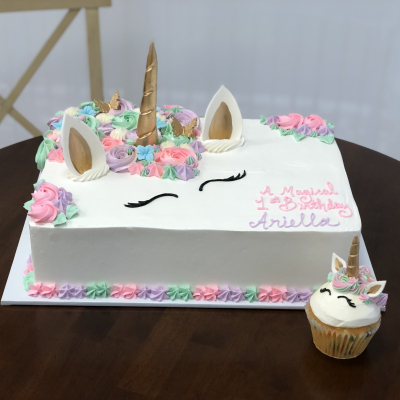Unicorn Sheet Cake and Cupcake