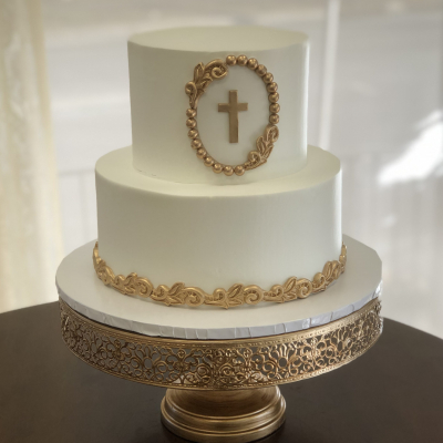White and Gold Baptism Cake